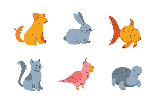 Концепция милых разных домашних животных