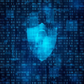 Концепция кибербезопасности. киберпространство, бинарный код - матрица. кодированные данные