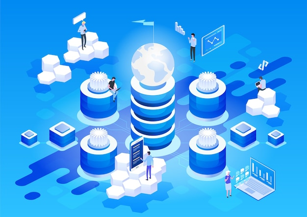 데이터 네트워크 관리의 개념 비즈니스 네트워킹 서버, 컴퓨터 및 장치와 벡터 아이소 메트릭지도.
