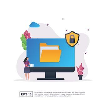 상단에 자물쇠 및 보안 기호로 데이터 보호의 개념
