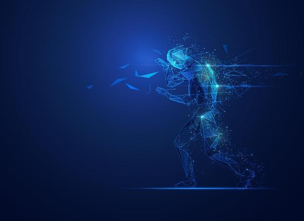 Концепция цифрового разрушения, графика низкополигонального человека, идущего с футуристическим элементом