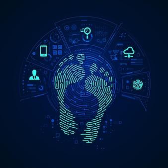 디지털 발자국의 개념, 미래형 패턴 및 디지털 기술 요소와 결합된 발자국 모양의 그래픽