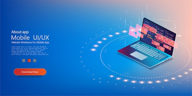 디지털 기술의 개념. 노트북의 앞면. 인포 그래픽 차트를 이용한 분석 트렌드 및 재무 전략