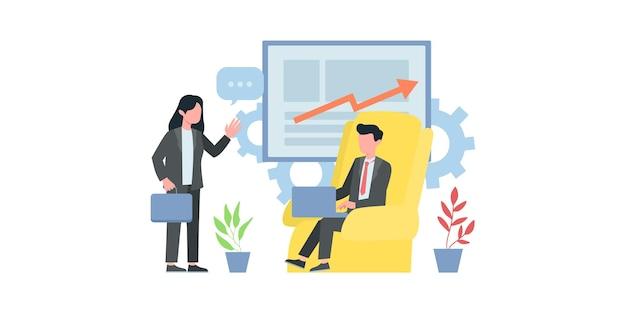 디지털 기술의 개념, 비즈니스 그래픽 작업, 성공을 위한 경력 성장. 젊은 남자는 노트북과 함께 앉아서 채팅을 다시 씁니다. 벡터 평면 그림