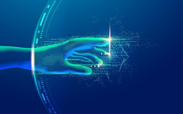 デジタルトランスフォーメーションまたはディープラーニングの概念、未来的な要素を備えた手の到達のグラフィック