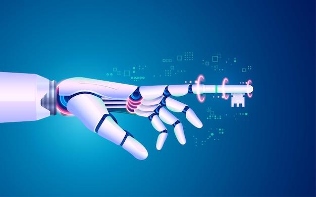 디지털 변환 또는 딥 러닝의 개념, 검지 손가락 키가 있는 로봇 손의 그래픽