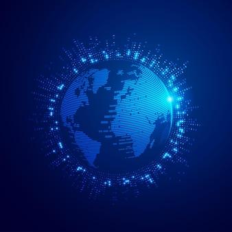 디지털 변환 또는 글로벌 네트워크 기술의 개념, 미래 요소가있는 이진 글로브