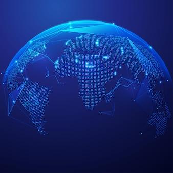 미래의 요소와 세계의 디지털 변환 또는 글로벌 네트워크 기술 그래픽의 개념