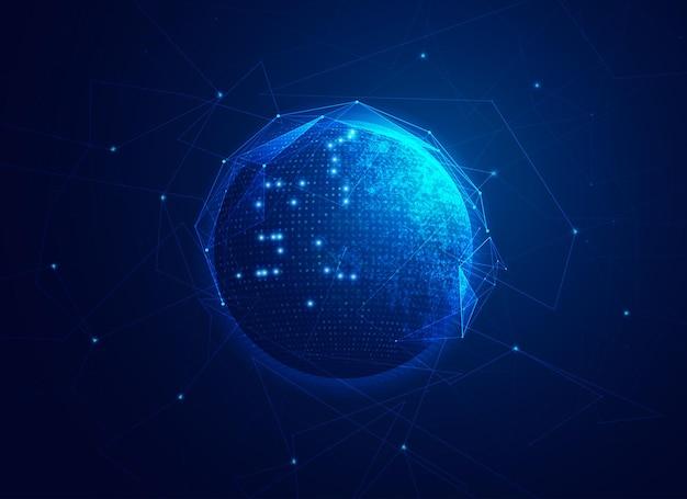 デジタルトランスフォーメーションまたはグローバルネットワークテクノロジーの概念、未来的な要素を持つ地球のグラフィック