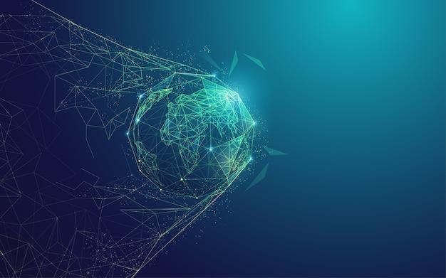 デジタルトランスフォーメーションまたはグローバルネットワークテクノロジーの概念、目標の瞬間を持つ多角形の地球