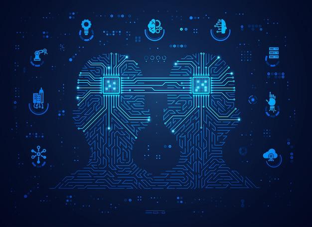 디지털 쌍둥이 또는 기계 학습의 개념 프리미엄 벡터