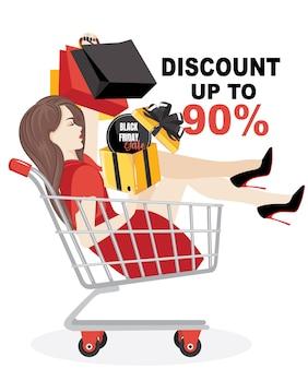 Концепция скидок черная пятница продажи программы, обслуживания клиентов. счастливая женщина делает покупки на продажу, используя скидку.