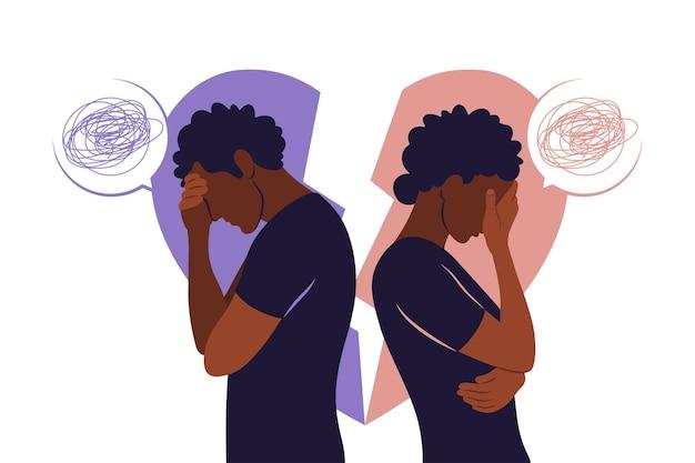 Понятие развода, недопонимание в семье. разногласия, проблемы в отношениях. африканская пара в ссоре. конфликты между мужем и женой. вектор. плоский
