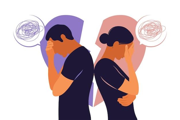Понятие развода, недопонимание в семье. разногласия, проблемы в отношениях. мужчина и женщина в ссоре. конфликты между мужем и женой. вектор. плоский