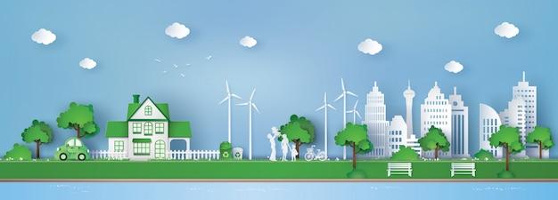 친환경과 지구를 구하는 개념 프리미엄 벡터