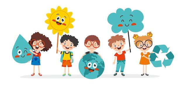 만화 아이들과 함께 생태와 지속 가능성의 개념