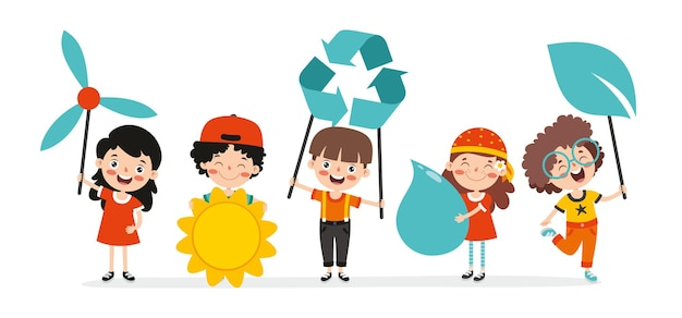 Концепция экологии и устойчивости с мультипликационными детьми