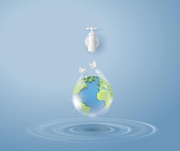 Понятие экологии и всемирного дня воды. бумажное искусство и стиль цифрового ремесла.