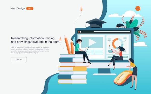 온라인 학습, 교육 및 과정을위한 교육의 개념. 프리미엄 벡터