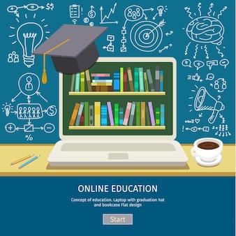 Концепция образования. блокнот с выпускной шляпой и книжным шкафом на экране.
