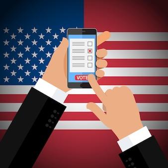 選挙の概念。画面上の投票アプリでスマートフォンを持っている手。フラットなデザイン、イラスト。