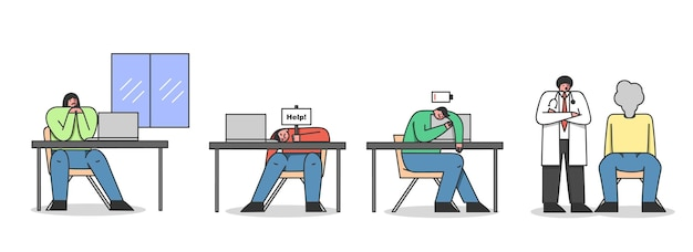 感情的な燃え尽き症候群の概念。オフィスの職場に座っている疲れた疲れた人々。サインヘルプと低バッテリーアイコンを持つ2人の男性。漫画の線形アウトラインフラットベクトル図