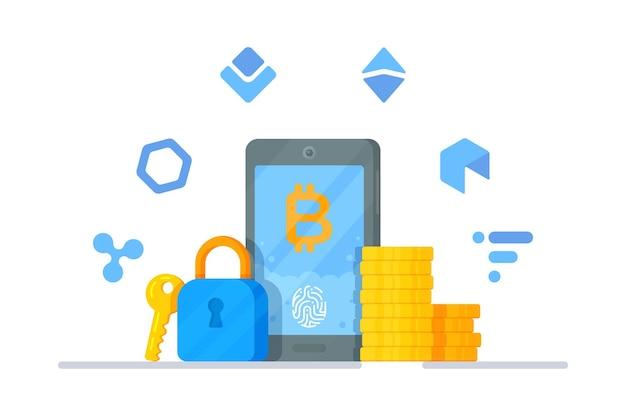 암호화, 디지털 통화 데이터 암호화, 보안 및 암호 화폐 보호의 개념. 다른 cryptocurrencies의 현대 평면 벡터 일러스트 레이 션. 디지털 화폐.
