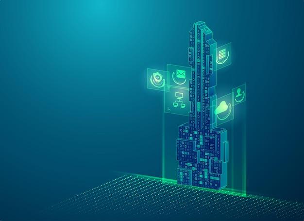 암호화 키 또는 개인 키의 개념, 이진 코드와 결합된 미래 키의 그래픽