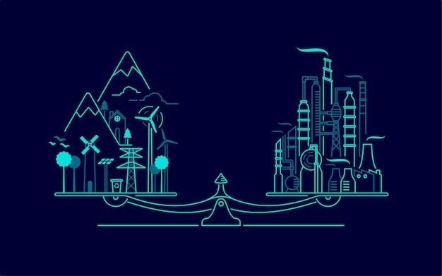 環境保全またはエコロジーシステムの概念、工場および森林とのスケールのバランスの図