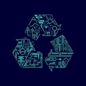 環境保全またはエコロジーシステムの概念、内部に持続可能な意味を持つリサイクルシンボルのグラフィック