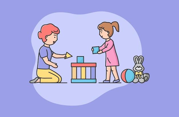 家族の過ごす時間の概念。一緒にブロックを遊んで幸せな母と娘。ママは娘が大きな美しい城や家を建てるのを手伝います。漫画の線形アウトラインフラットスタイル。ベクトルイラスト。