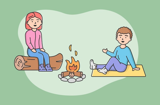 시간을 보내는 가족의 개념입니다. 행복 한 엄마와 아들이 함께 캠프 파이어에서 로그에 앉아. 사람들은 휴가 중에 의사 소통하고 함께 즐거운 시간을 보냅니다. 만화 선형 개요 평면 벡터 일러스트 레이 션.