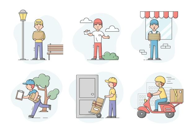 빠른 배송 서비스의 개념. 패키지를 운반하는 택배의 집합입니다. 다양한 방법으로 고객에게 패키지를 제공하는 남성. 제복을 입은 노동자.