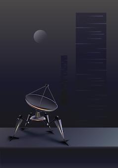 Концепция вымышленного четвероногого робота с параболической спутниковой тарелкой на футуристическом фоне