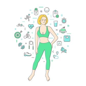 Концепция фитнес-девушки в линии искусства иллюстрации
