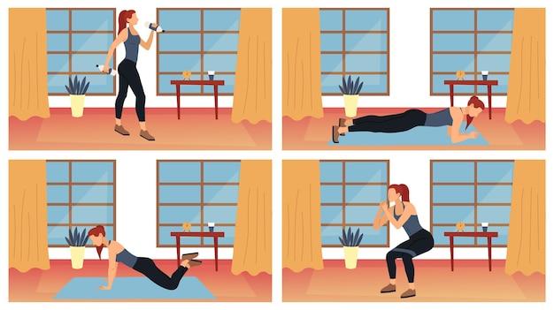 피트니스, 건강 관리 및 활동적인 스포츠의 개념. 건강한 라이프 스타일을 선도하는 젊은 여자. 체육관이나 집에서 운동하는 캐릭터, 다른 근력 운동을합니다. 만화 평면 벡터 일러스트 레이 션.