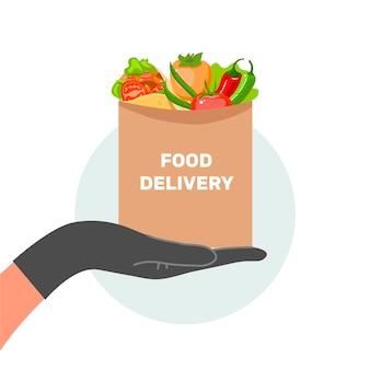 ドアの図への食品配達の概念
