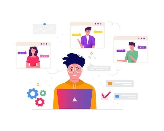 フリーランス、ビデオ会議、オンライン会議ワークスペースの概念。レポート、チラシ、マーケティング、リーフレット、モダンなスタイルのベクトルのために同僚と一緒に取っているデザインテンプレートフリーランサー