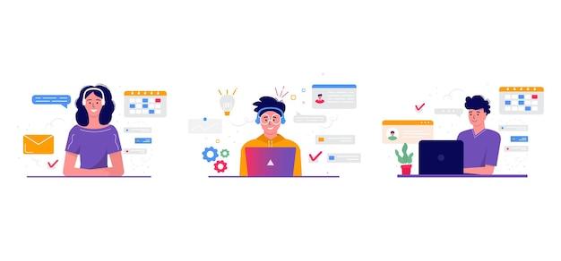 프리랜서, 화상 회의, 온라인 회의 작업 공간의 개념. 비즈니스 사람들이 있는 디자인 템플릿, 보고서, 전단지, 마케팅, 전단지, 현대적인 스타일 벡터를 위해 동료와 함께 일하는 프리랜서