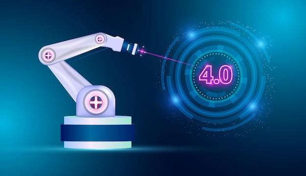 미래 산업의 개념 공장에 로봇 팔