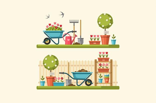 ガーデニングの概念。ガーデンツール。夏の庭の風景とバナー。図。