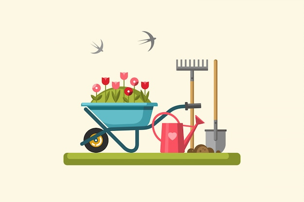 ガーデニングの概念。ガーデンツール。図。