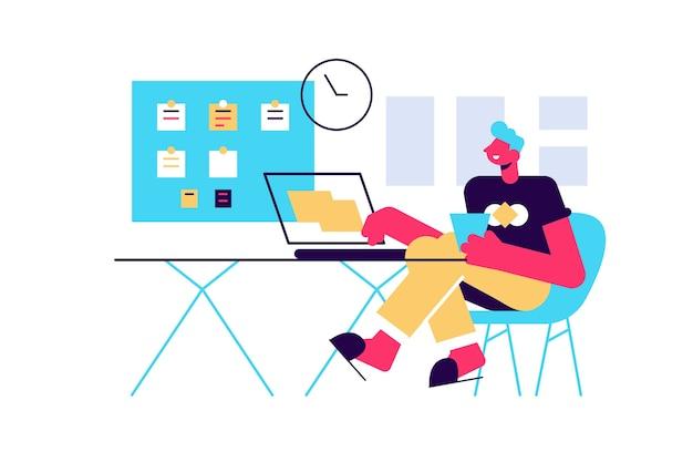 좋은 시간 관리, 작업 계획의 개념. 일정을 정리하십시오.