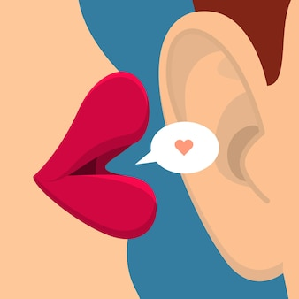 ゴシップや愛の概念。女性の唇は耳の中で話します。フラットなデザイン Premiumベクター