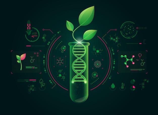 녹색 생명 공학의 개념 또는 dna 모양과 결합 된 식물의 합성 생물학 그래픽