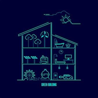 緑の建物または環境にやさしい、内部に生態学的要素を持つ家のグラフィックの概念