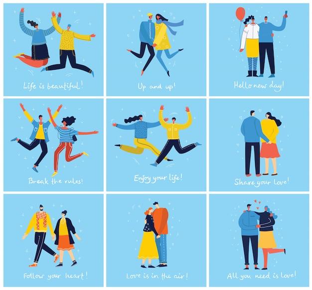 사랑에 coule 포옹 파란색 배경에 점프 젊은 사람들의 그룹의 개념. 행복 남성과 여성 청소년과 함께 세련된 현대적인 일러스트 카드
