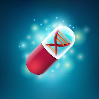 Концепция технологии здравоохранения, графика реалистичной таблетки с формой днк внутри