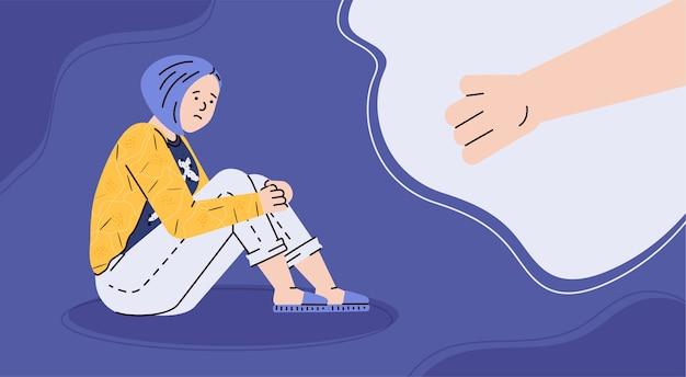 슬픈 불행 외로운 우울 여성 벡터 일러스트 레이 션에 대한 도움의 개념
