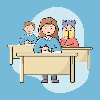 高校教育の概念。 10代の学生は教室で講義に座っています。机に座ってメモをとる生徒の男の子と女の子。漫画の線形アウトラインフラットスタイル。ベクトルイラスト。